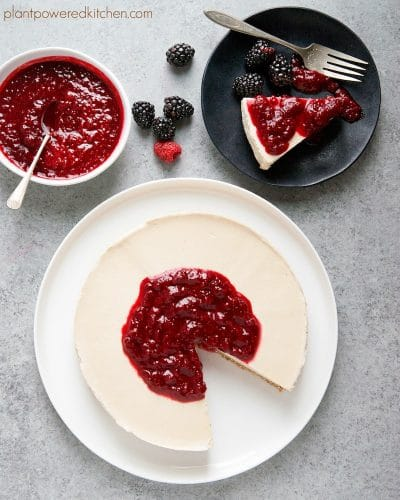 "Divine (dairy-free) Cheesecake with Raspberry Sauce, from ""The Cheese Trap"""