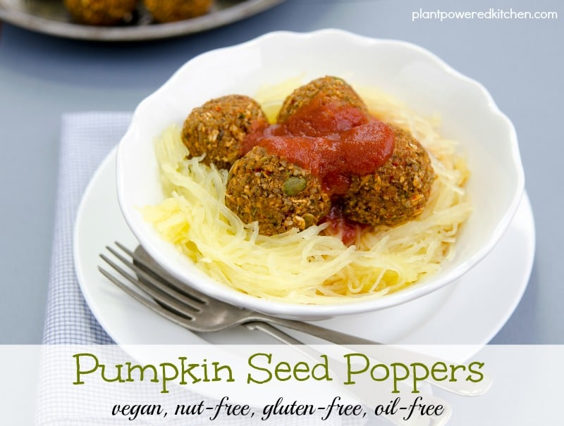 Pumpkin Seed Poppers | vegan meatball recipes | how to make vegan meatballs | vegan dinner recipes | gluten free meatball recipes | gluten free dinner recipes | vegan meat recipes | nut-free vegan recipes | homemade vegan recipes | oil-free vegan recipes || Plant Powered Kitchen