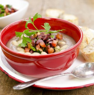 Greek Lentil Soup with Tomato and Olive Gremolata