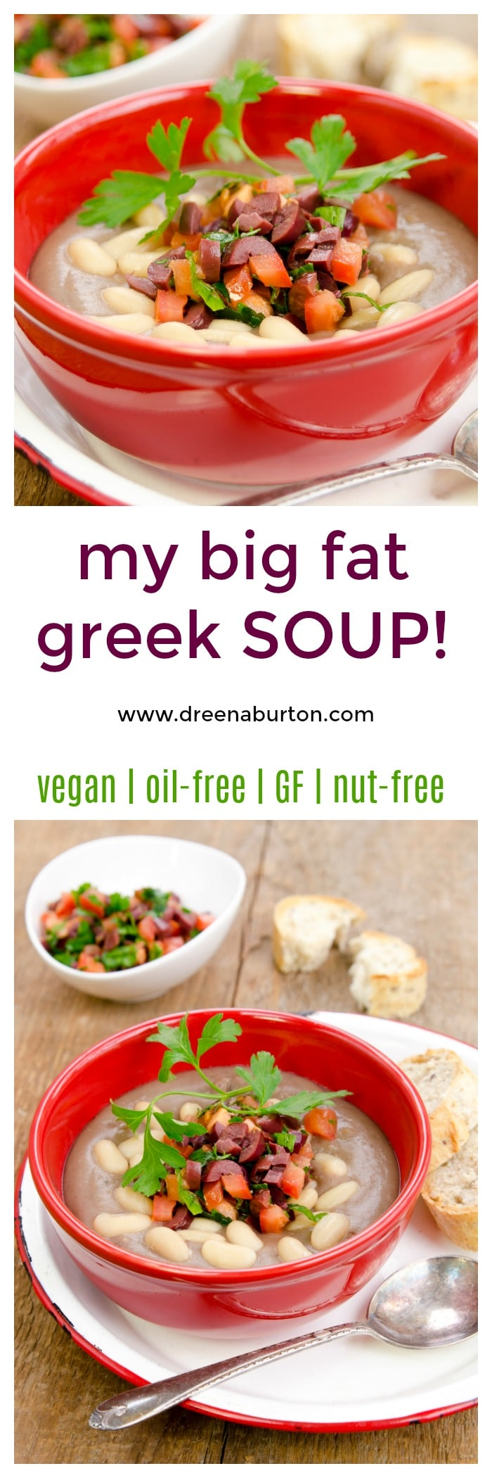 my big fat greek - soup! Greek Lentil Soup - BIG flavor, and nutrition, low fat. | vegan soup recipes | oil-free soup recipes | gluten-free soup recipes | nut-free soup recipes | healthy soup recipes || Plant Powered Kitchen