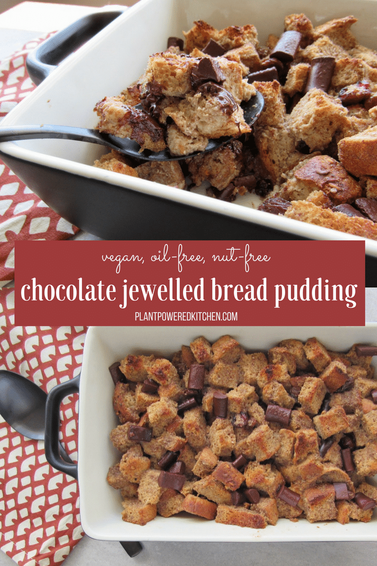 French Toast MEETS Bread Pudding! EASY and delicious - vegan, nut-free, oil-free! Chocolate Jewelled Bread Pudding