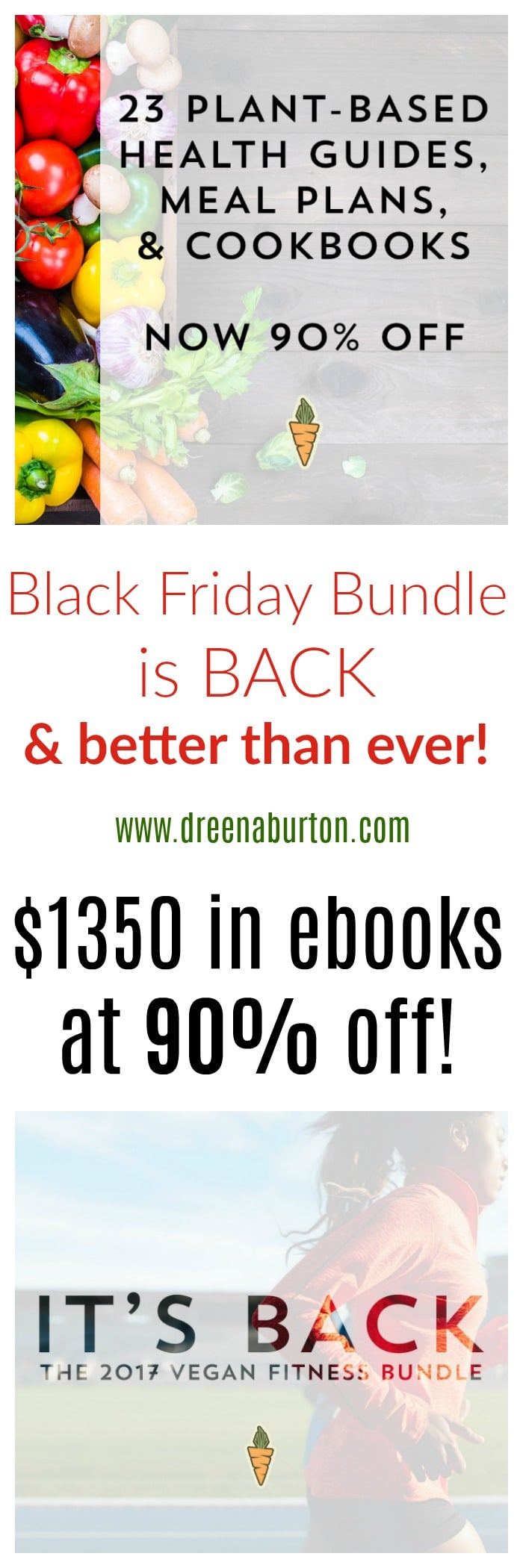 90% OFF over $1300 in #vegan and #plantbased ebooks and programs - the no meat athlete black friday bundle!