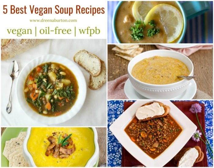 5 BEST VEGAN SOUP RECIPES #vegan #plantbased #oilfree #wfpb #soup #healthy #glutenfree