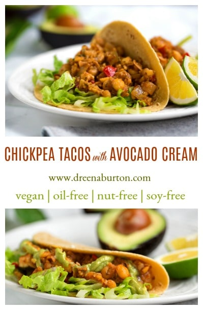 CHICKPEA TACOS with AVOCADO CREAM! #vegan #oilfree #wfpb #nutfree #glutenfree #recipe