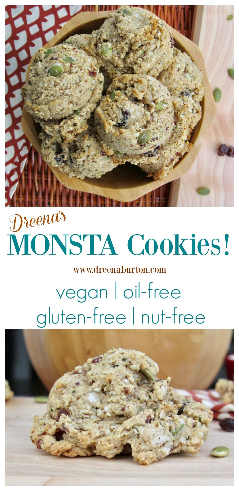 MONSTA Cookies! Monsta good #vegan cookies, also #oilfree #glutenfree #wholegrain #nutfree! #plantbased #baking #cookies