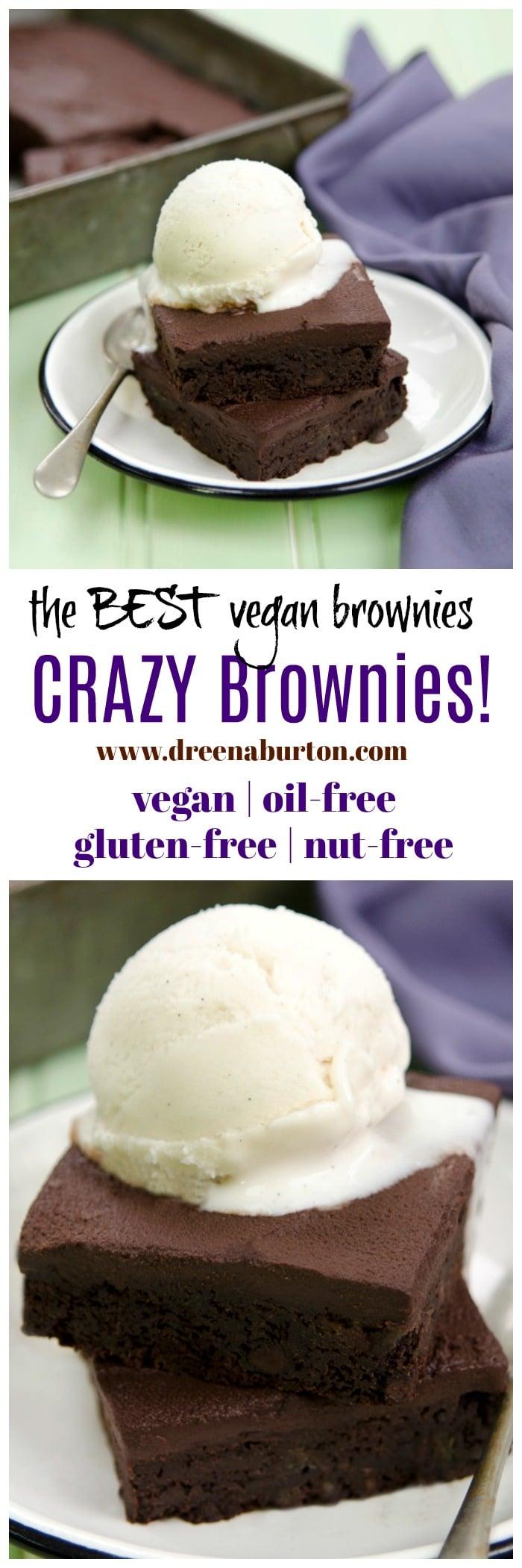 the BEST vegan brownie recipe: CRAZY BROWNIES! #vegan #brownies #oilfree #glutenfree #healthy #baking #nutfree #soyfree #plantbased #wfpb