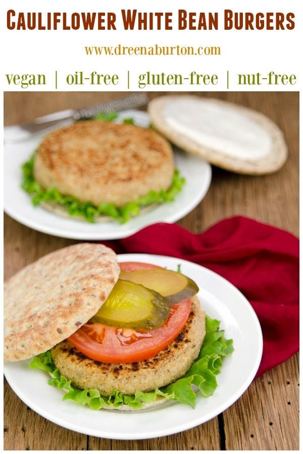 Cauliflower Bean Burgers! #vegan #vegetarian #burgers #meatlessmonday #glutenfree #nutfree #oilfree #plantbased #recipe #healthy #food #veggieburgers #cauliflower