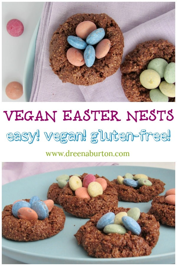 EASY Vegan Easter Treats! Chocolate Macaroon Easter Nests #vegan #easter #glutenfree #oilfree #treats #easterfood #eastereggs #macaroons