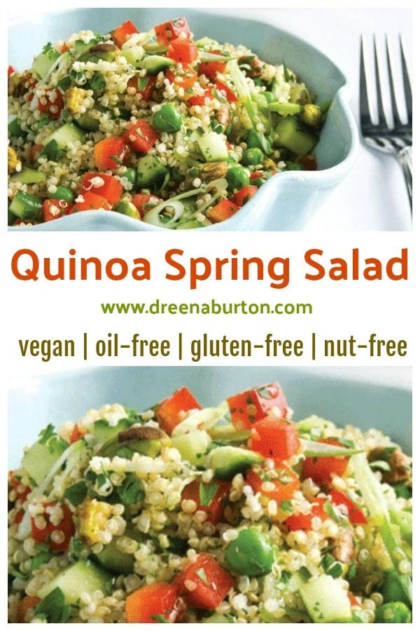 Quinoa Spring Salad Vegan Gluten Free Oil Free Nut Free