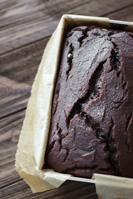 chocolate vegan zucchini bread close up image in pan