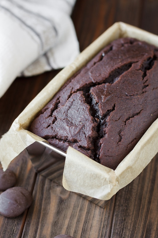 chocolate zucchini bread in baking pan