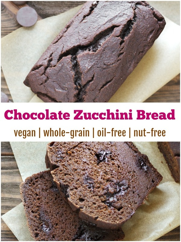 Vegan ZUCCHINI BREAD! No grating the zukes here, this one is EASY - and healthy! #wholegrain #dairyfree #wfpb #plantbased #vegan #nutfree #oilfree #zucchini #baking #recipe #quickbread #healthy