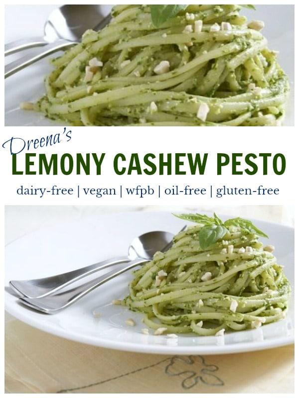 The BEST oil-free pesto! LEMONY CASHEW BASIL PESTO - #dairyfree #oilfree #vegan #pesto #basil #recipe #pasta #delicious #recipe #food #plantbased #wfpb