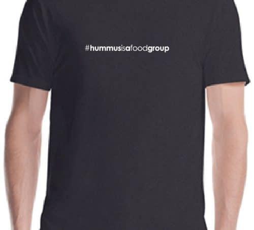 #hummusisafoodgroup on black t-shirt