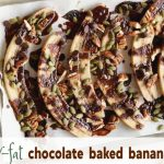 baked bananas drizzled with a chocolate sauce