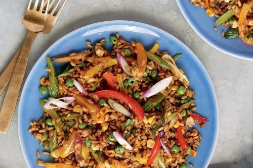 Plate with vegan rice stir-fry