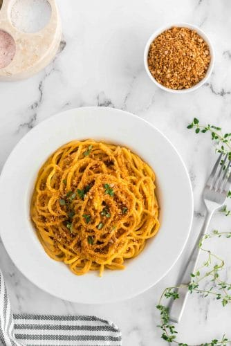 bowl sweet potato pasta sauce with noodles