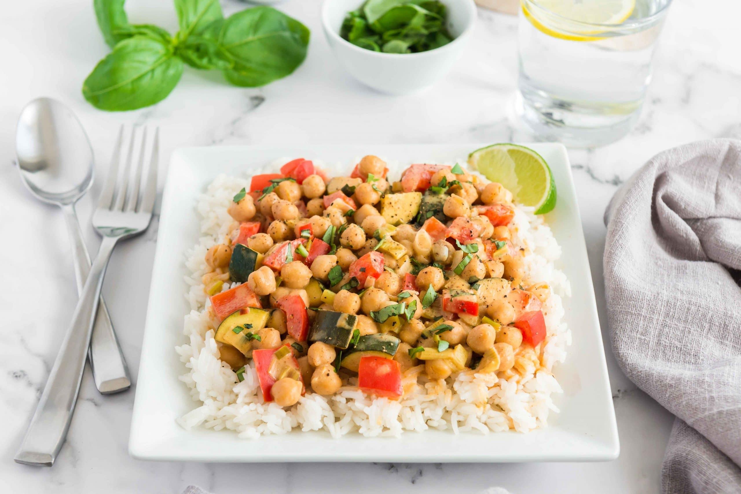Thai Chickpea Almond Curry served on jasmine rice
