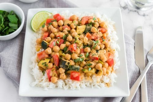 Thai Chickpea Almond Curry served on jasmine rice