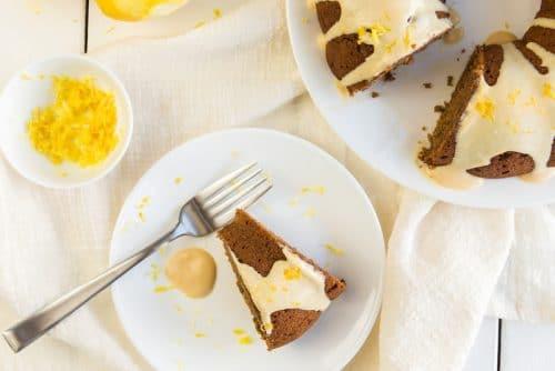 Date-Sweetened Vegan Bundt Cake with Lemon-Maple Frosting