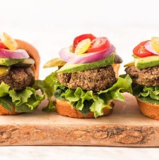 Mushroom Pecan Burgers on cutting board