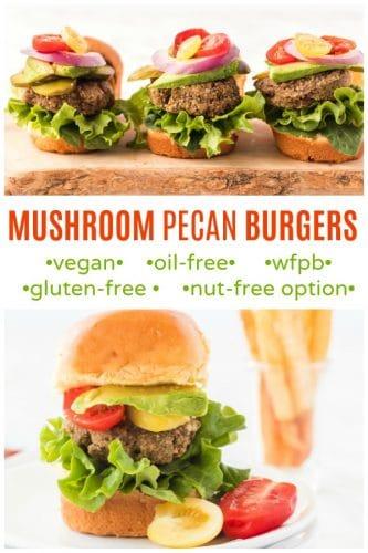 mushroom pecan burgers on plate