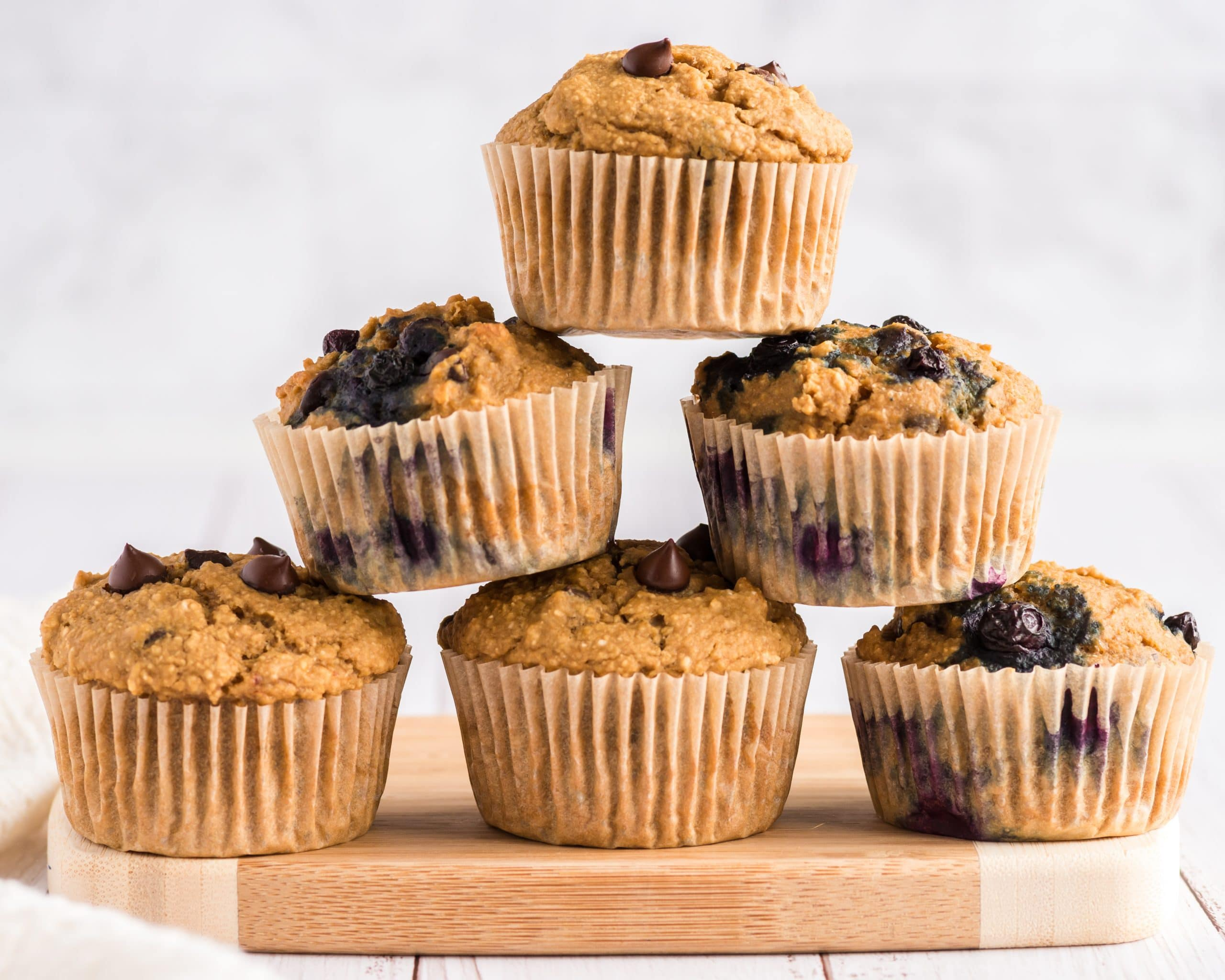 vegan chocolate chip muffins stacked in a pyramid shape