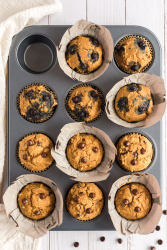 muffins (some with blueberries) in baking pan