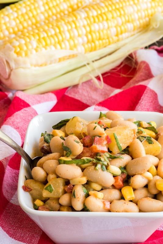 white bean salad in bowl