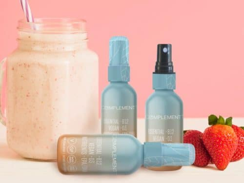 Strawberry smoothie shown with vegan supplements, as they can be added to smoothies and other foods