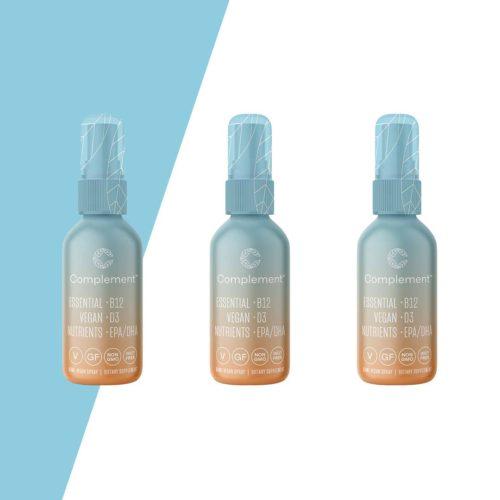 3 bottles of complement spray which combines vegan DHA vegan D3 and Vegan B12