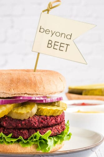 beyond beet burger on bun with toppings and plated