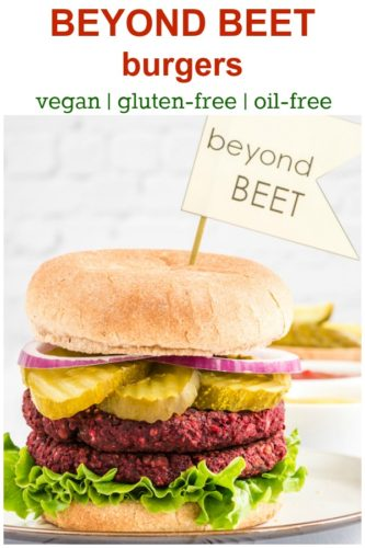 recipe pin showing vegan beet burger with double patty on burger bun with pickles, onions, and lettuce