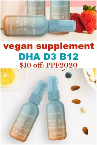 pinterest image showing vegan supplement spray with DHA D3 B12