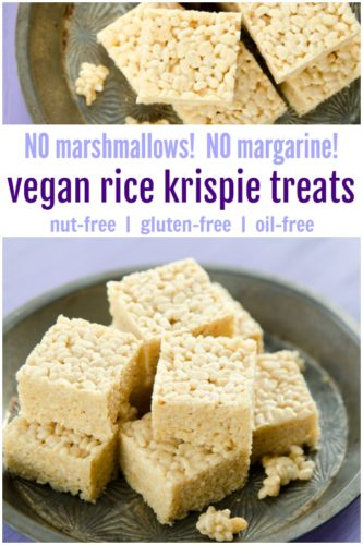 rice krispie treats that are vegan, gluten-free, nut-free, oil-free and made without marshmallows or margarine