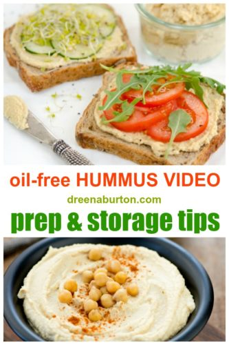 pinterest pin collage of hummus and open-face hummus sandwiches