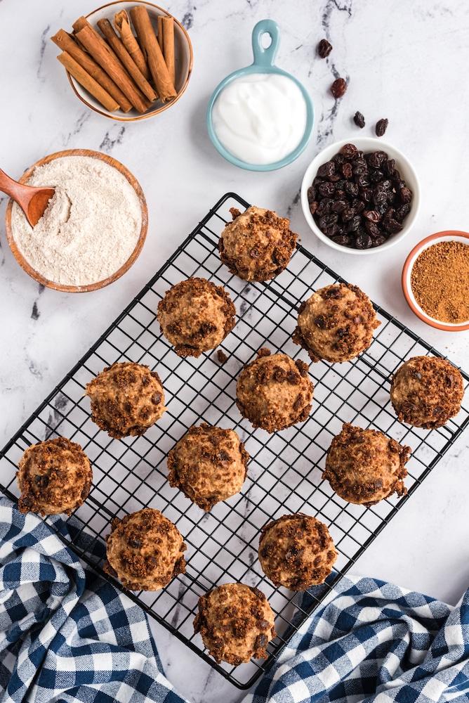 Mini-muffins on cooling rack