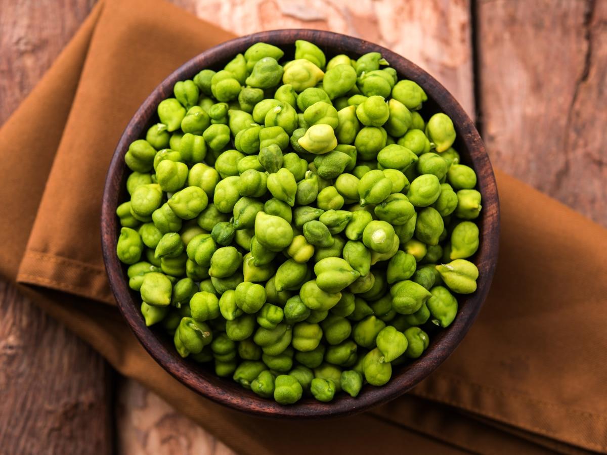 bowl full of green chickpeas