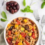 summer pasta in bowl
