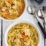vegan chicken noodle soup in bowls