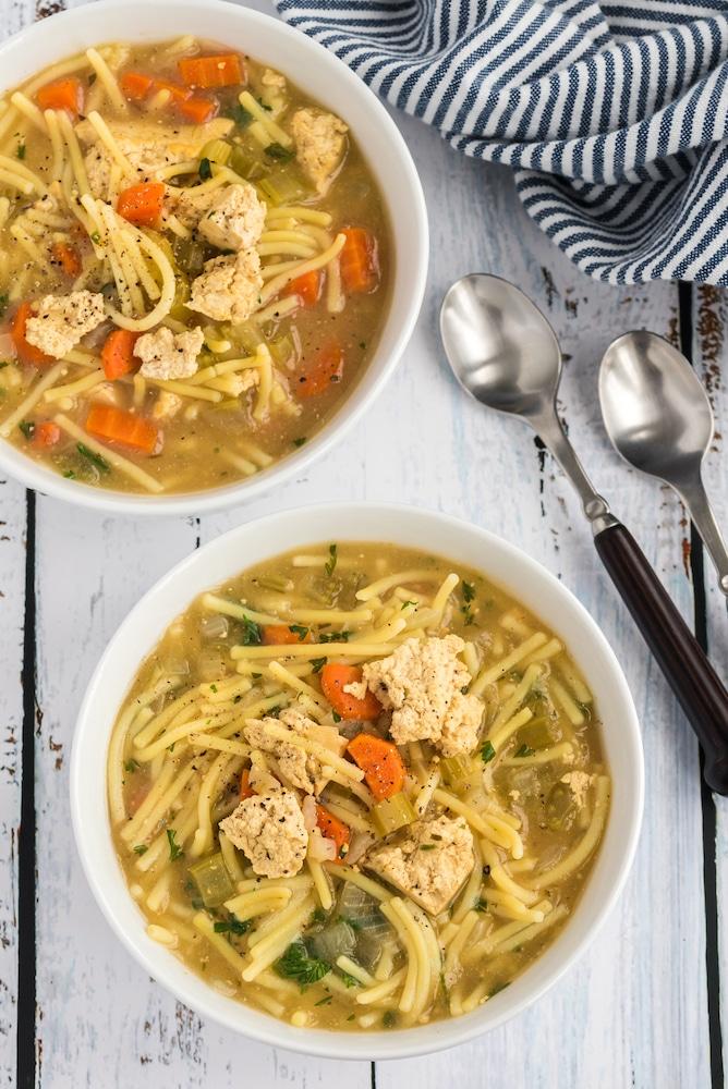 Vegan Chicken Noodle Soup served in bowls