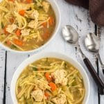 vegan chicken noodle soup in serving bowls