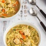bowls of quicken noodle soup