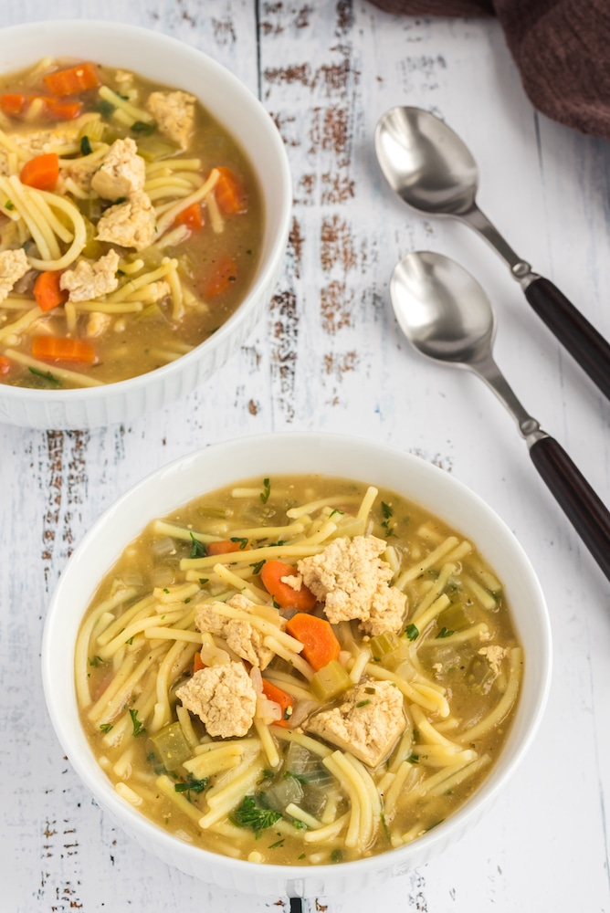 bowl with quicken noodle soup